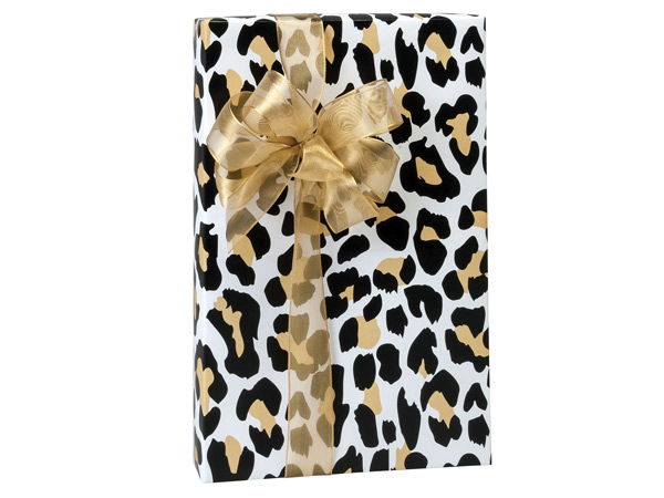 "Golden Leopard 24""x85', Gift Wrap Cutter Box"