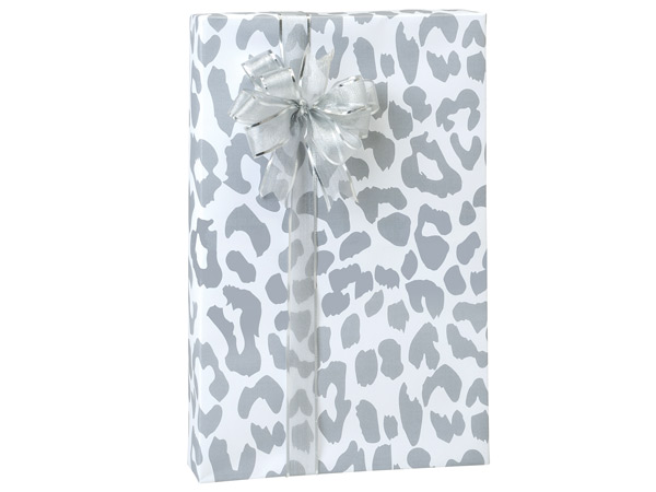 """Silver Leopard Wrapping Paper 24""""x417' Counter Roll"""