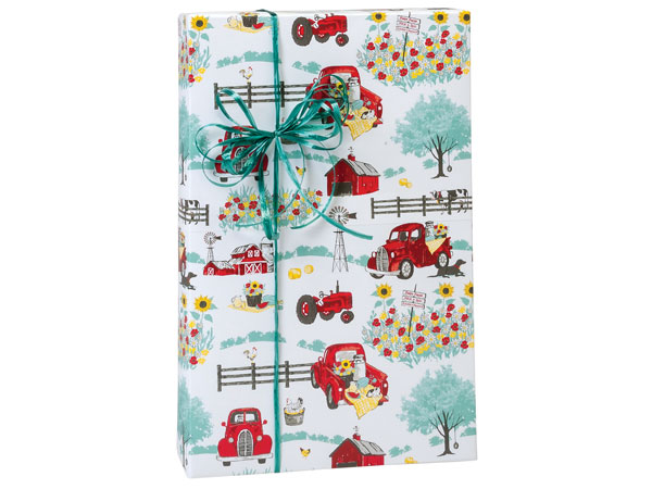 Red Farm Truck Premium Recycled Gift Wrap