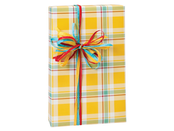 Sunshine Plaid Premium Recycled Gift Wrap