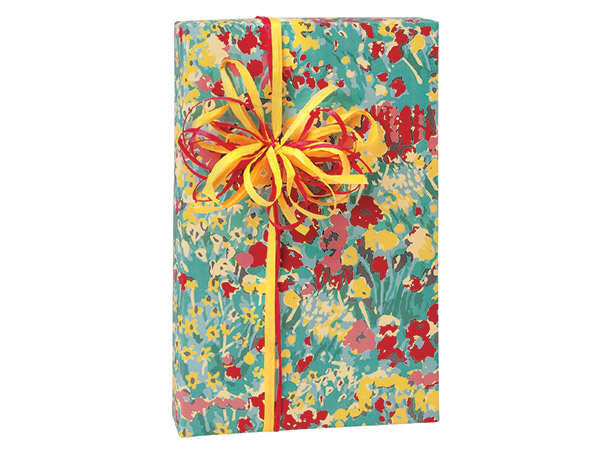 """Farm Flowers Wrapping Paper 24""""x85' Cutter Roll"""