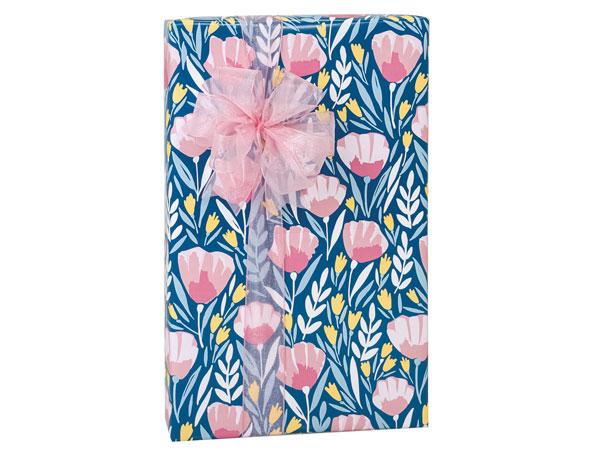 """Pink Petals 24""""x85', Gift Wrap Cutter Box"""