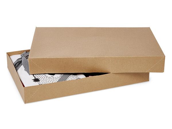 "Brown Kraft Pinstripe 2 Piece Apparel Boxes, 15x9.5x2"", 100 Pack"