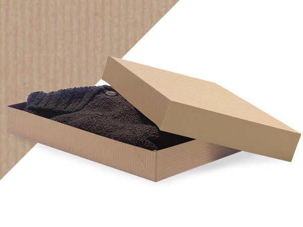 "Oatmeal Pinstripe 15x9.5x2"" Apparel Box"