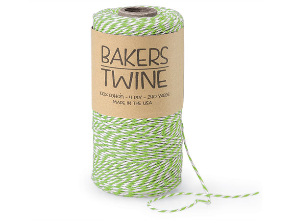Apple Green & White Twine 240 yds 4-ply 100% Cotton Baker's Twine