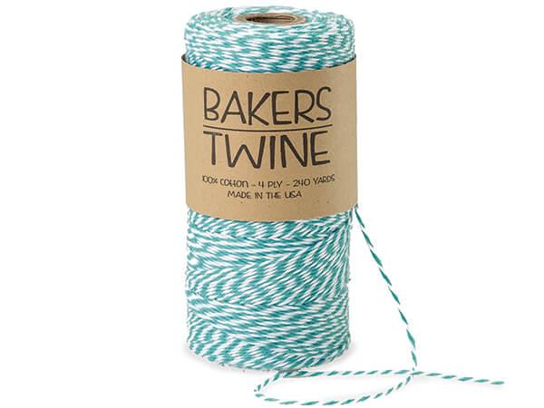 Aqua & White Twine 240 yds 4-ply 100% Cotton Baker's Twine