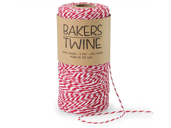 Cherry Red and White Baker's Twine, 240 yds
