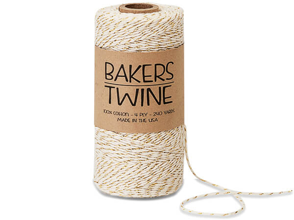 Metallic Gold and White Baker's Twine, 240 yds