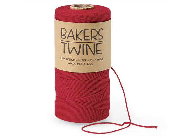 Solid Cherry Red Twine 240 yds 4-ply 100% Cotton Baker's Twine