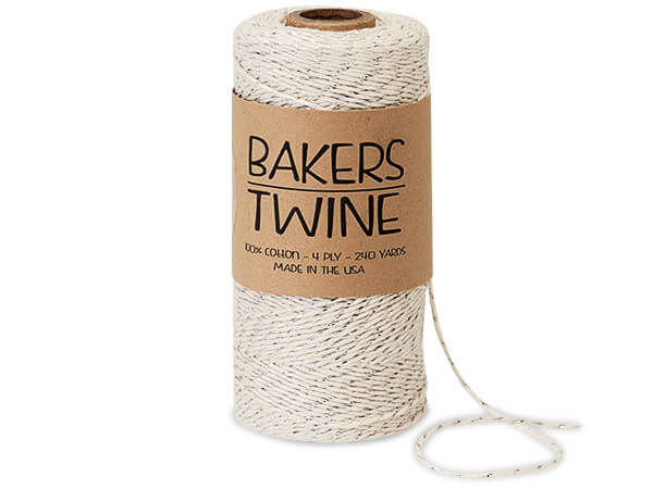 Metallic Silver and White Baker's Twine, 240 yds