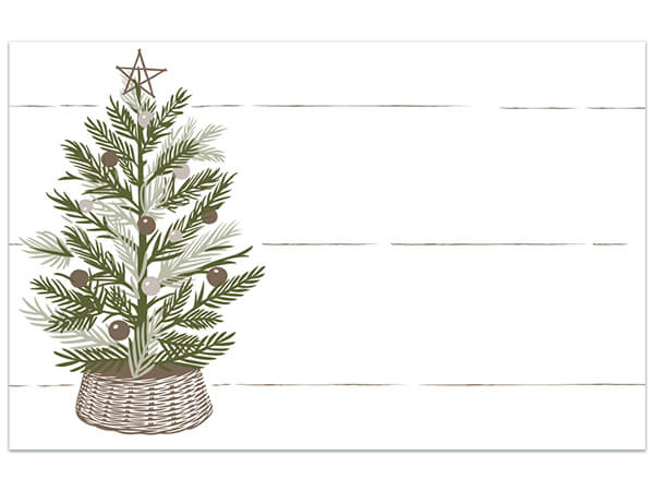 "Pine Holiday Tree Matte Enclosure Card, 3.5x2.25"", 50 Pack"