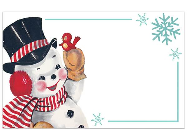 "Vintage Christmas Snowman Gloss Enclosure Card, 3.5x2.25"", 50 Pack"