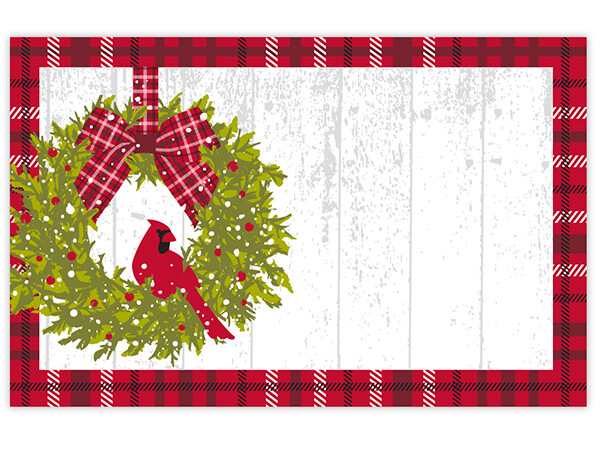 "Christmas Plaid Cardinal 3-1/2x2-1/4"" Enclosure Card"