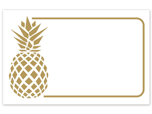 "Metallic Golden Pineapple Gloss Enclosure Card, 3.5x2.25"", 50 Pack"