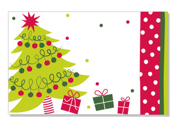 "Jolly Christmas Tree 3-1/2"" x 2-1/4"" Enclosure Cards"