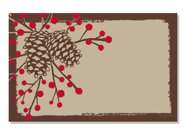 "Woodland Pinecone Enclosure Gift Card, 3-1/2x2-1/4"", 50 Pack"