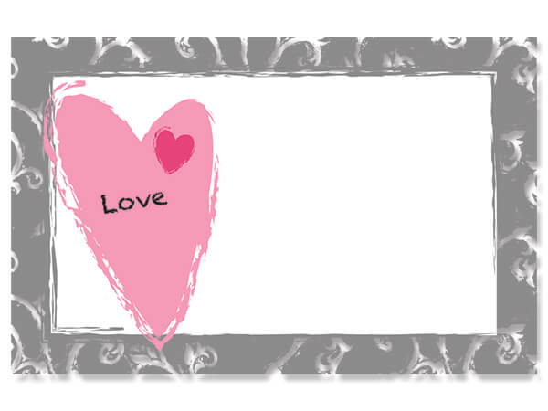 """Love Contemporary Heart Enclosure Gift Card, 3.5x2.25"""", 50 Pack"""