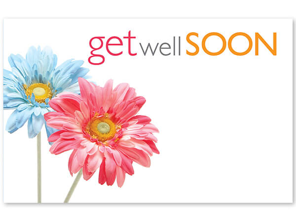"Get Well Soon Daisies Enclosure Card, 3.5x2.25"", 50 Pack"