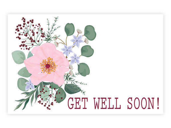 "Get Well Soon Floral Enclosure Gift Card, 3.5x2.25"", 50 Pack"