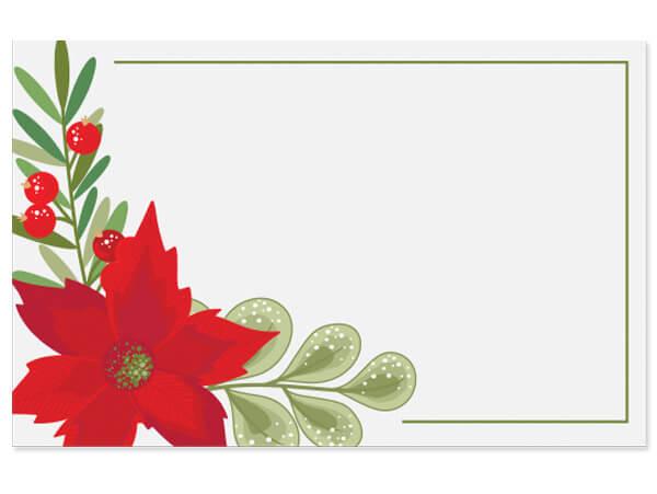 "Poinsettia Enclosure Gift Card 3.5x2.25"", 50 Pack"