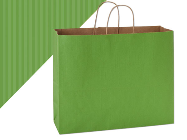 "Vogue Apple Green Shadow Stripe Bag 250 Pk 16x6x13"""