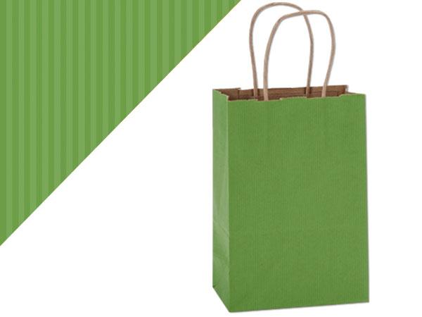 "Rose Apple Green Shadow Stripe Bags 25 Pk 5-1/2x3-1/4x8-3/8"""