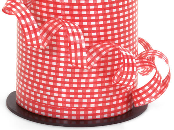 "Red Gingham Curling Ribbon, 3/8""x250 yards"