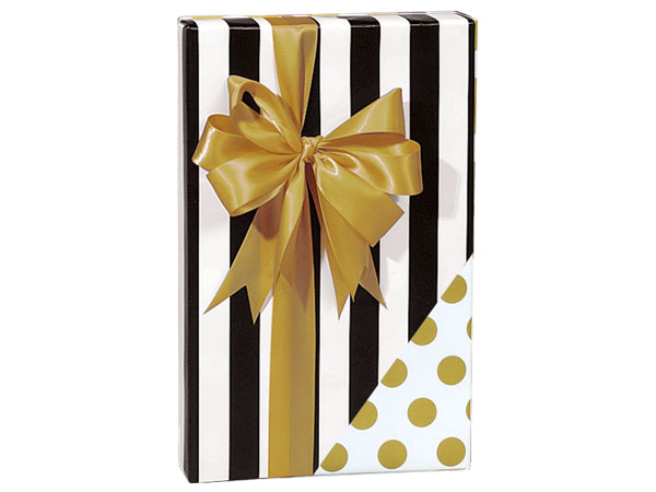 "Black Stripe & Gold Dots Reversible Gift Wrap, 24""x85' Cutter Roll"