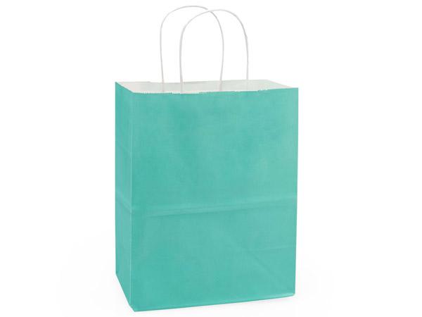 """Cub Aqua White Kraft Shopping Bags 250 Pk 8x4-3/4x10-1/4"""""""