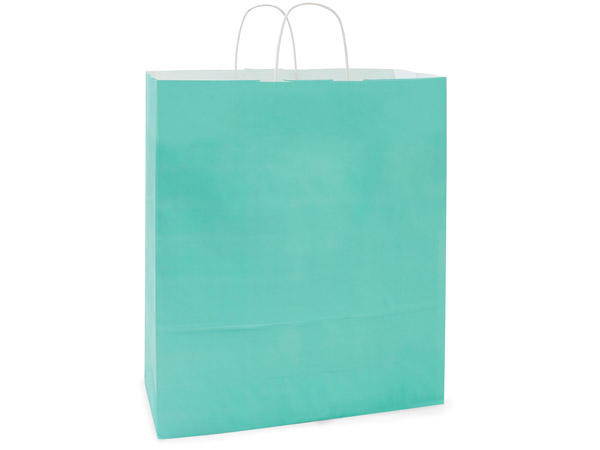 Queen Aqua White Kraft Shopping Bag 200 Pk 16x6x19""