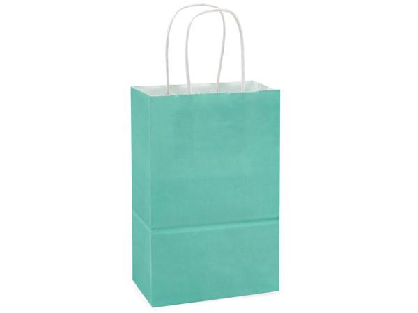 "Rose Aqua White Kraft Shopping Bags 250 Pk 5-1/2x3-1/4x8-3/8"""