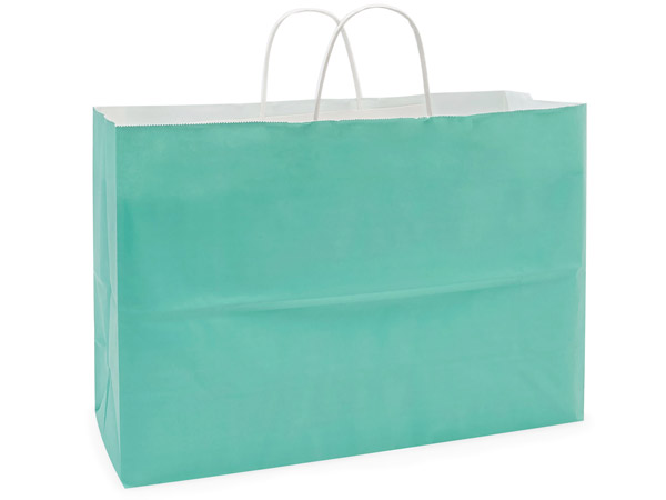 Vogue Aqua White Kraft Shopping Bag 250 Pk 16x6x12""