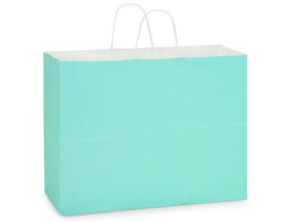"Vogue Aqua White Kraft Shopping Bag 25 Pk 16x6x12"""
