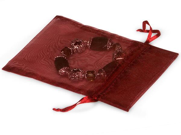 "Burgundy Organza Favor Bags, 4x6"", 10 Pack"