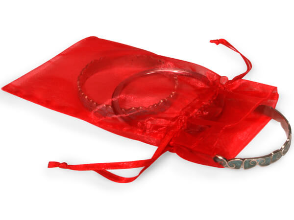 "Red Organza Favor Bags, 4x6"", 10 Pack"