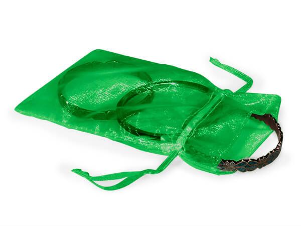 "Emerald Green Organza Favor Bags, 4x6"", 10 Pack"