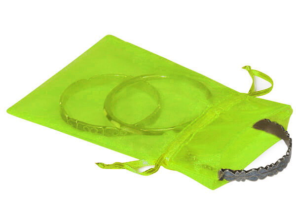 "Citrus Green Organza Favor Bags, 4x6"", 10 Pack"