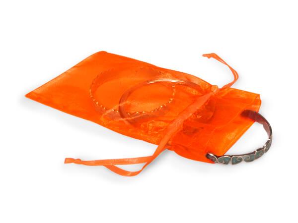 "Tropical Orange Organza Favor Bags, 4x6"", 10 Pack"