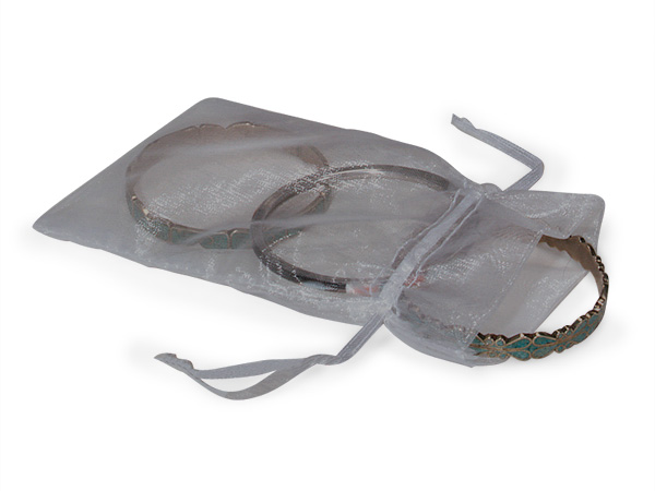 "Charcoal Gray Organza Favor Bags, 4x6"", 10 Pack"