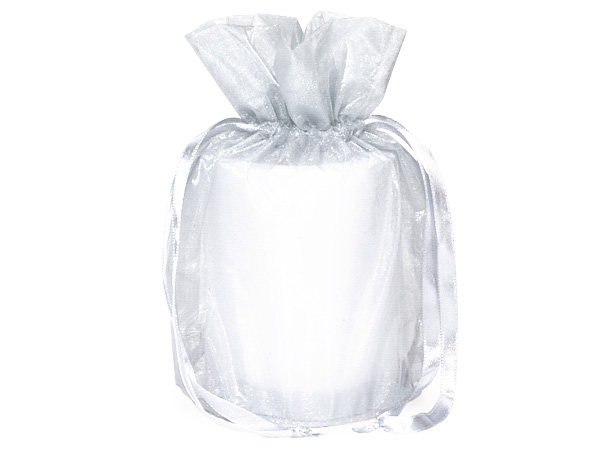 "White Organza Favor Bags, Round Bottom 6.5x4x7"", 12 Pack"
