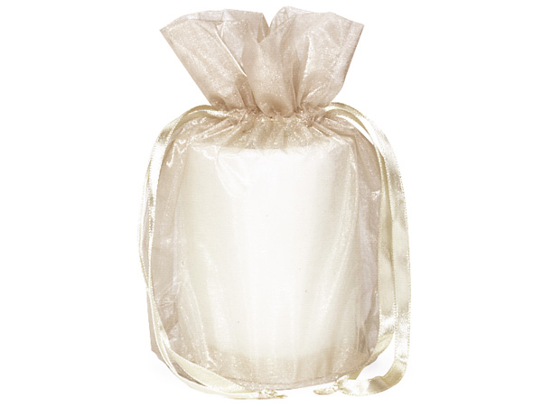 "Ivory Organza Favor Bags, Round Bottom 6.5x4x7"", 12 Pack"