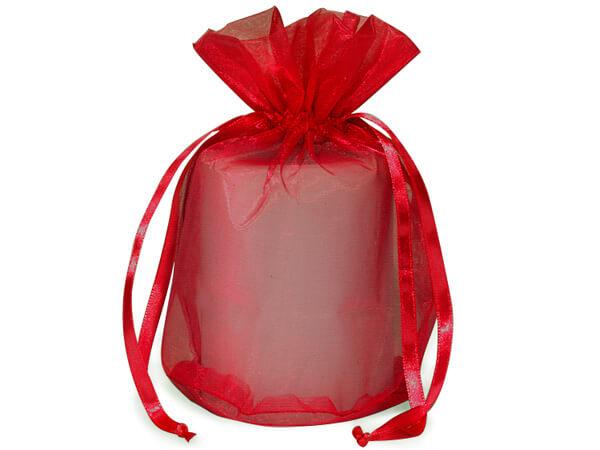 "Red Organza Bags 6-1/2x4x7"" Round Bottom 6.5x4x7"", 12 Pack"