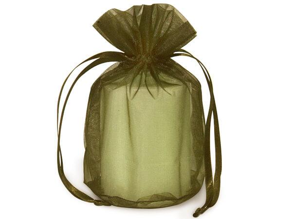 """Moss Green Organza Favor Bags, Round Bottom 6.5x4x7"""", 12 Pack"""