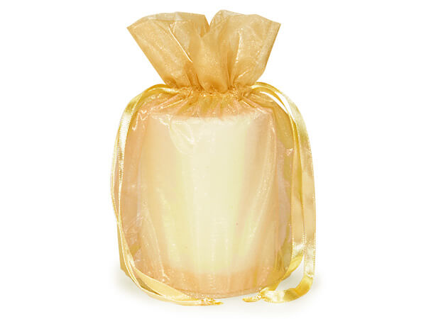 "Gold Organza Favor Bags, Round Bottom 6.5x4x7"", 12 Pack"