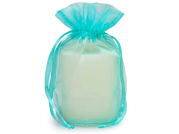 "Aqua Blue Organza Favor Bags, Round Bottom 6.5x4x7"", 12 Pack"