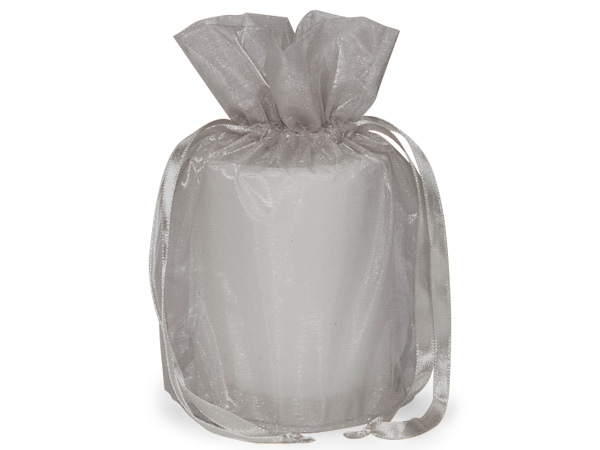 "Silver Organza Favor Bags, Round Bottom 6.5x4x7"", 12 Pack"