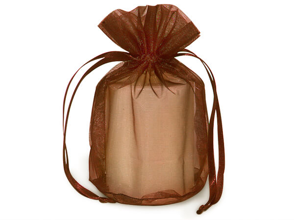"Chocolate Brown Organza Favor Bags, Round Bottom 6.5x4x7"", 12 Pack"