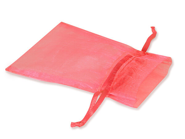 """Coral Rose Pink Organza Favor Bags, 3x4"""", 10 Pack"""