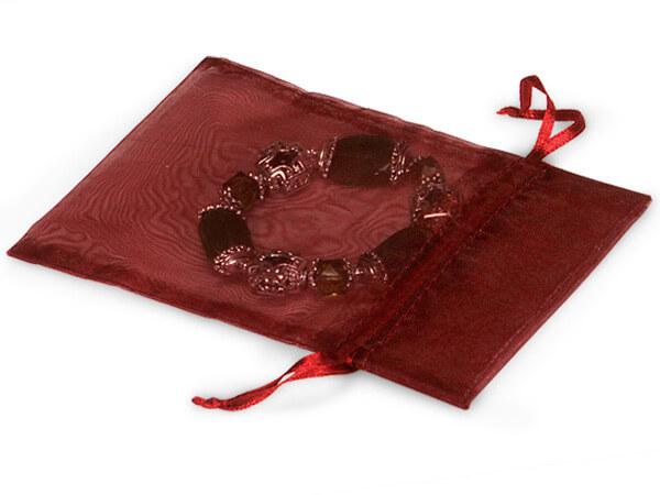 "Burgundy Organza Favor Bags, 3x4"", 10 Pack"