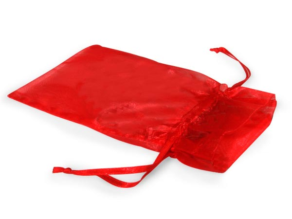 "Red Organza Bags 3x4"" 3x4"", 10 Pack"